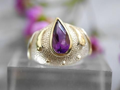beautiful, magical Amethyst ring with gold detail on sterling silver