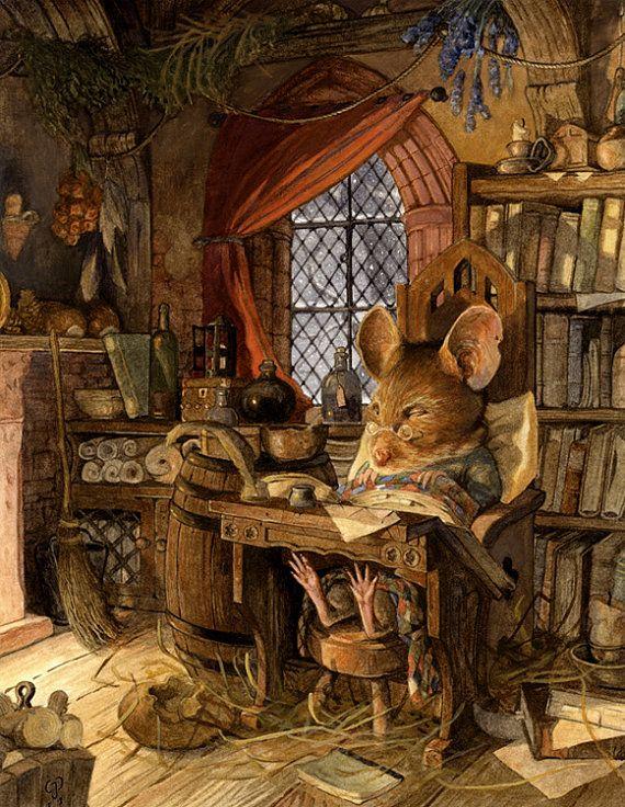 Een hoge kwaliteit giclee reproductie van een aquarel illustratie, gesigneerd en genummerd door de kunstenaar Chris Dunn. Het originele schilderij is een hommage aan Brian Jacques, de auteur van Redwall Abbey, een zeer onderhoudend en enorme serie van kinderboeken. De muis is Brian als een van zijn personages misschien in het midden van het schrijven van een ander kraken verhaal maar vanwege zijn ouderdom en comfortabele stoel die heeft hij dreef af om te slapen. Hoewel het sneeuwt buiten…