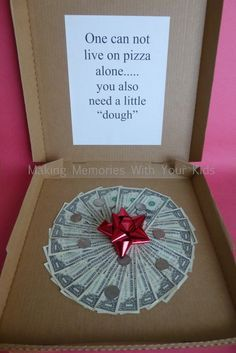 Money Gift Idea - Can't Live on Pizza Alone