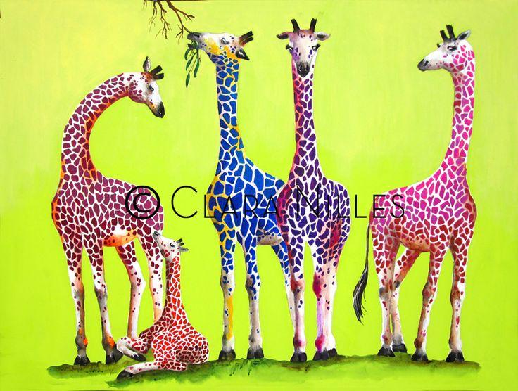 Giraffe Family on Spring Green