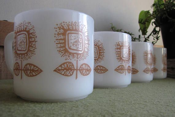 Federal Glass White Coffee Mugs Set of Four 4 with a Brown