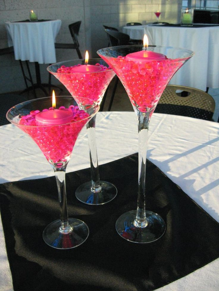 Martini Glass Vase- cute idea for a bachelorette party.