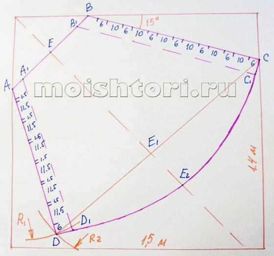 Построение выкройки асимметричного свага