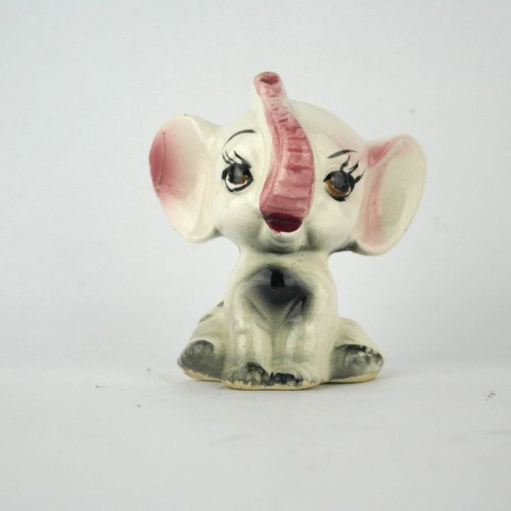 Small Cute White, Pink And Gray Elephant Figurine With Big Eyes, Long  Eyelashes,