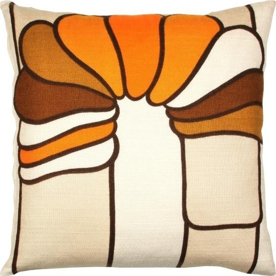 Uniek retro kussen gemaakt van originele stof uit de jaren 60 en 70 compleet met donzen - Kussen oranje en bruin ...