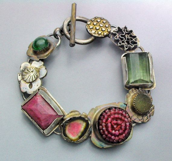 Tourmaline and Ruby Gem Ball Bracelet  Reserved for J by Temi