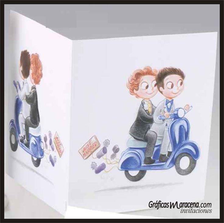 Invitación boda divertida de Novio y Novio en moto