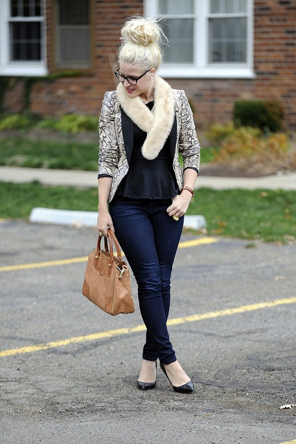 Snake jacket + peplum! Outfit inspiration via Blond Bedhead