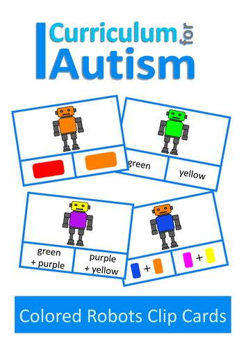 Robots Colour Clip Cards, Autism, Special Education