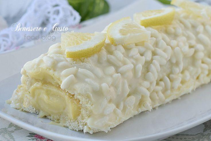 Rotolo al limone con glassa al cioccolato e riso soffiato. Ricetta facile dolce dessert fine pasto, crema pasticcera e pasta biscotto
