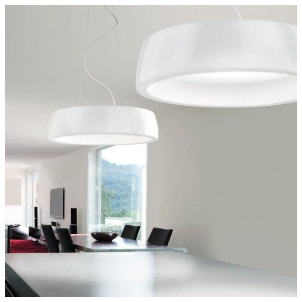 The Axel lamp by Leucos Lighting, Price Match Guarantee! Hanging lamp with external diffuser made of compact polyurethane resin coated with polyester paint…