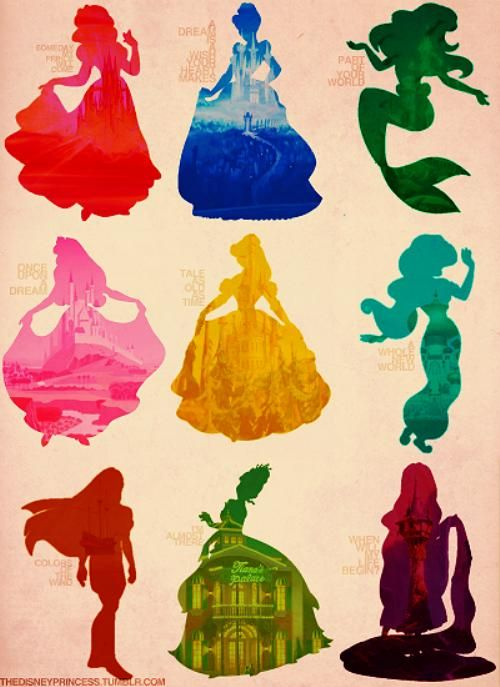 Silhuetas princesas Disney