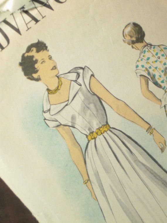A Barbara Stanwyck Dress designed by Edith Head Vintage Dress Pattern: Advance 5469. $45.00, via Etsy.