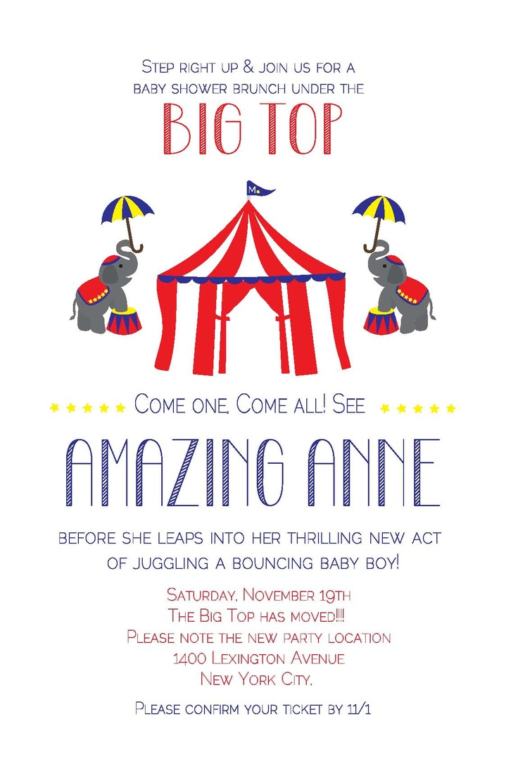 Baby Shower Brunch - Circus Invitation