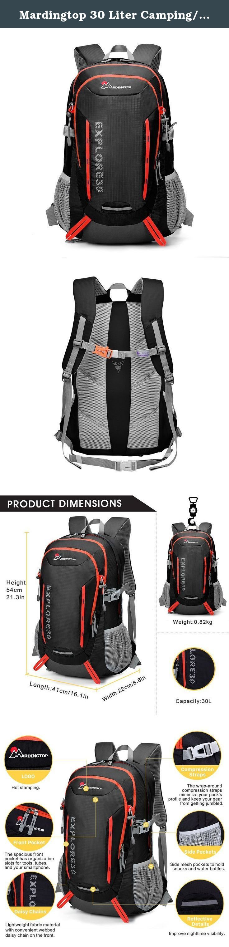 Mardingtop 30 Liter Camping/Travel/Hiking Backpack-5943. Product Dimensions Height 54cm/21.3in Length 41cm/16.1in Width 22cm/8.6in Weight: 0.82kg / 1.8 lbs Capacity: 1.Daisy Chains:Lightweight fabric material with convenient webbed daisy chain on the front. 2.Side Pockets:Side mesh pockets to hold snacks and water bottles. 3.Sternum Strap:Adjustable sternum strap to balance your shoulder straps. 4.Whistle Buckle:Emergency whistle buckle higher safety factor. 5.Bartack Technology:Stitched...