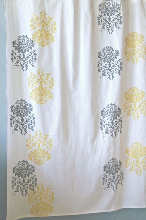 Yellow And White Chevron Shower Curtain