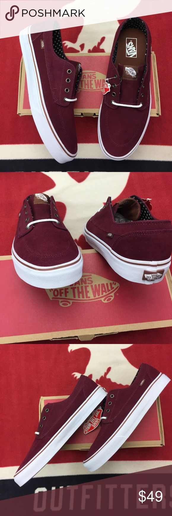 Vans Brigata Windsor Wine Suede Vans nautically inspired Brigata has a durable four-eyelet canvas upper, classic boat shoe styling, metal eyelets, contrast liner, Vans flag label and Vans Original Waffle Outsole. Vans Shoes Sneakers