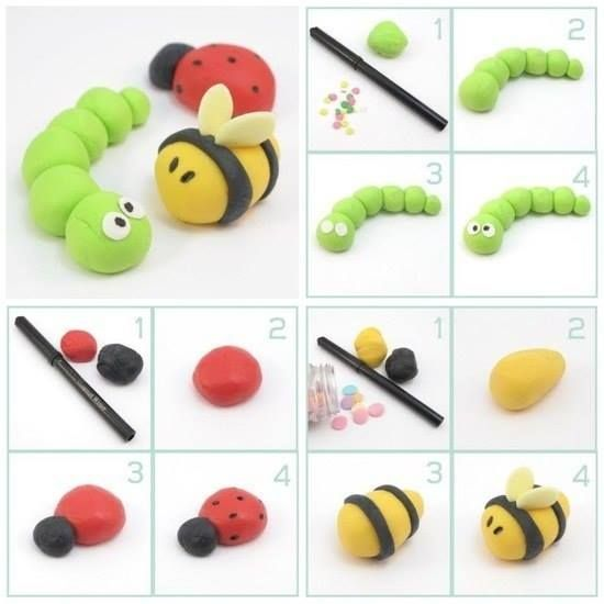 Sugar Craft Modelling - Caterpillar, Ladybird & Bee