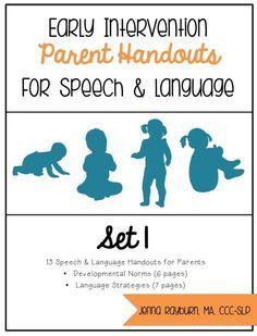 Early Intervention Parent Handouts for Speech & Language Development