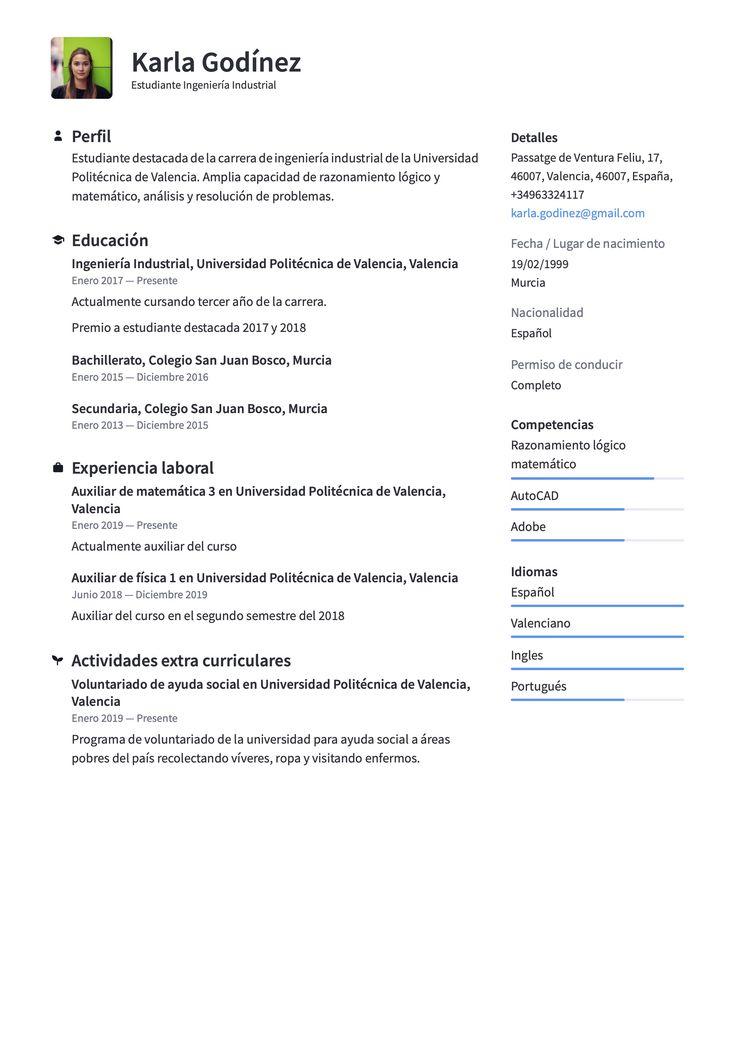 Plantilla de Currículum para estudiante sin experiencia en