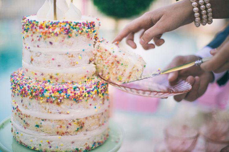 Naked funfetti cake with colorful sprinkles. Wedding cake design. Colorful wedding cake. Sweets table | Retro Pastel Inspired Shoot | Lovelyfest Event Design