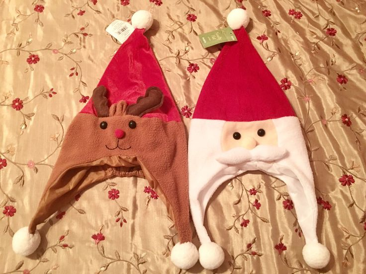 """2 Holiday Novelty Hats 22""""~ Santa & Reindeer~New with Tags  
