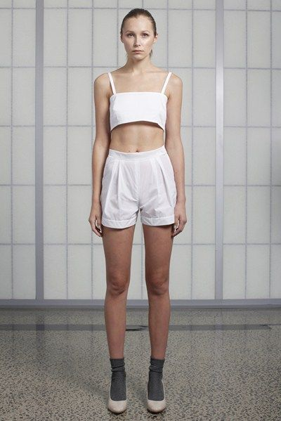 s/s 13/14 womens key looks - W01. breastplate in white, box short in optical.
