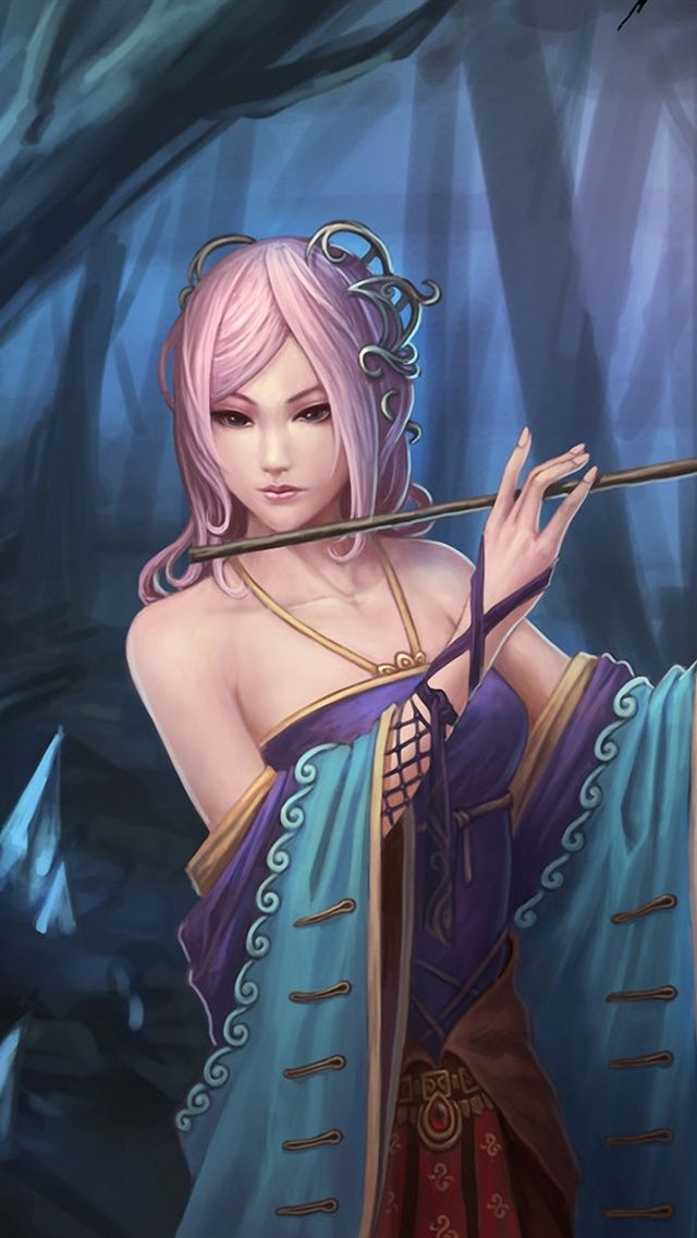 Fantasy girl wallpapers for iphones 69 pink hair fantasy girl in forest iphone 5 5s 5c wallpaper voltagebd Gallery
