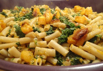 """The """"V"""" Word: Penne with Roasted Garlic Butternut Squash, Kale and Hazelnuts"""