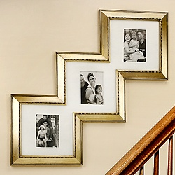 What a unique shape for a custom framed artwork, ideal for your stairway!