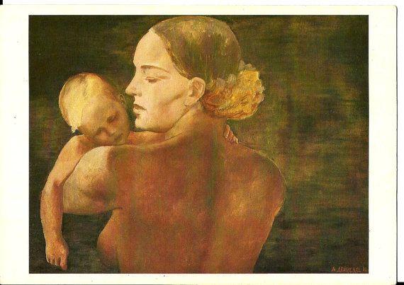 Mother Child Vintage Russian Postcard Artwork  by LucyMarket