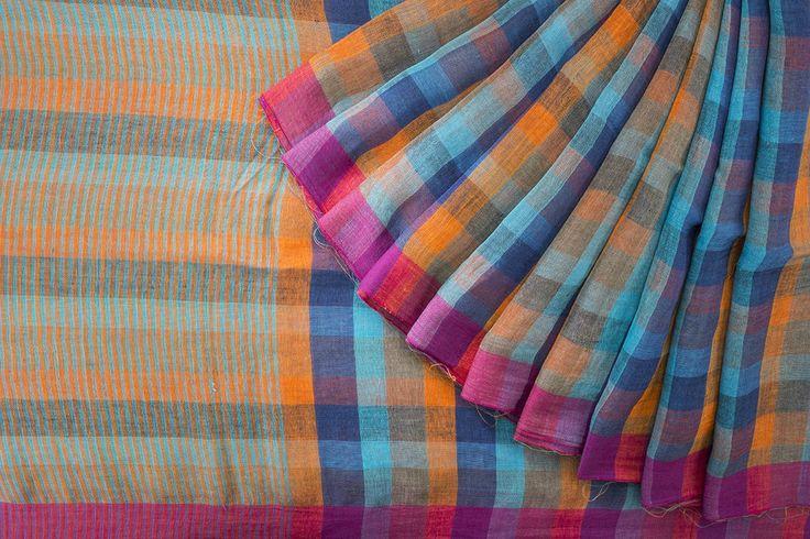 Colours make me happy  Shwet Handwoven Linen Sari 1024406 - Brands / Saris / Shwet - Parisera