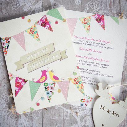 Bunting Day Invitation   Wedding Invitations