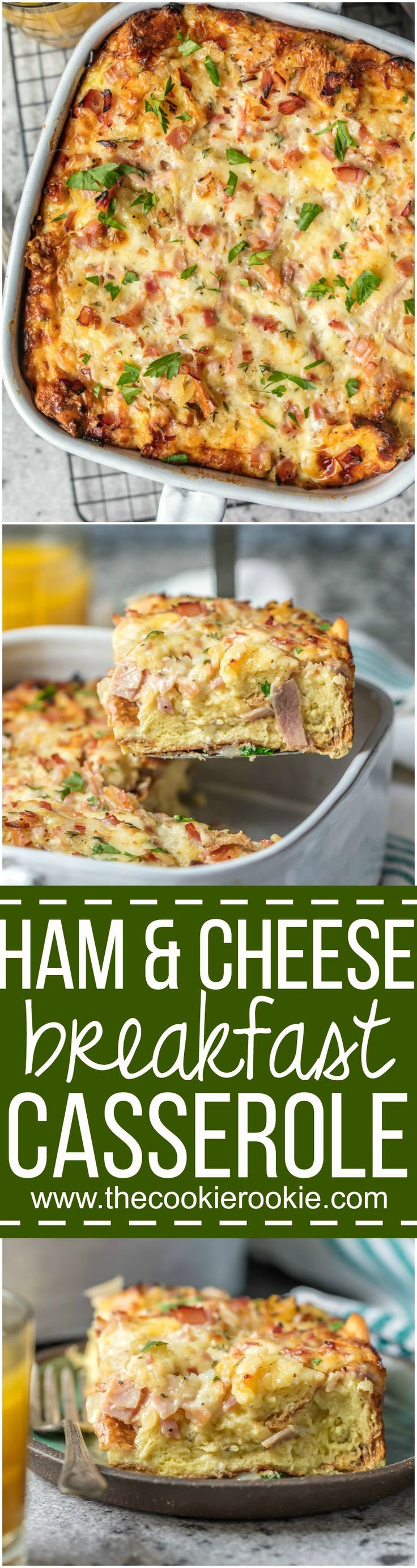 This HAM AND CHEESE BREAKFAST CASSEROLE is our favorite make ahead breakfast for any special occasion. Loaded with ham, cheese, , bread, eggs, herbs, and more! Sure to please everyone and just so easy to make! via @beckygallhardin