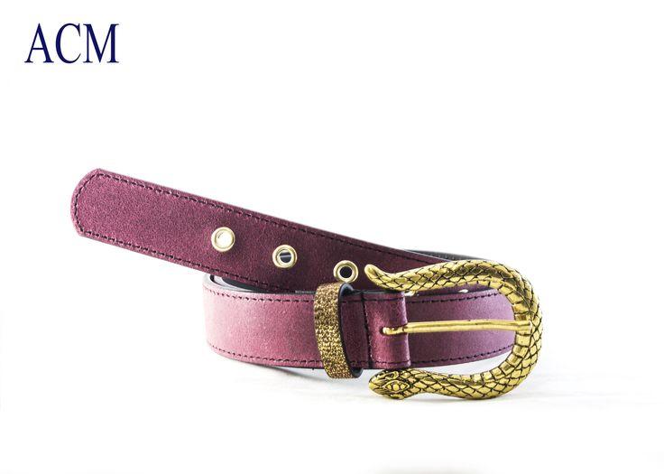 Cintura donna in vera pelle con occhielli in metallo e fibbia serpente Made in Italy #snake #belt #leather #woman