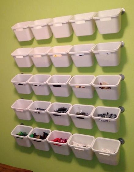 "DIY Lego Pick-A-Brick: 5 IKEA Bygel Rails (39 1/4""), 25 IKEA Rationell Recycling bins (1 gallon)"