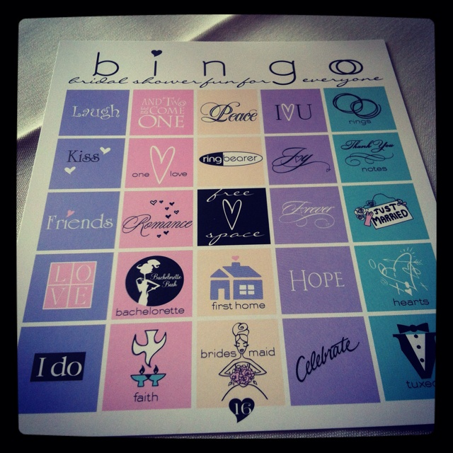 Wedding shower game...bc we love some bingo :)