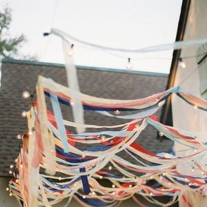 ribbon + lights = great outdoor party decor