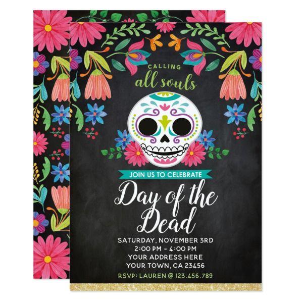 Day Of The Dead Party Invitation Zazzle Com Day Of The Dead Party Halloween Invitations Party Invitations