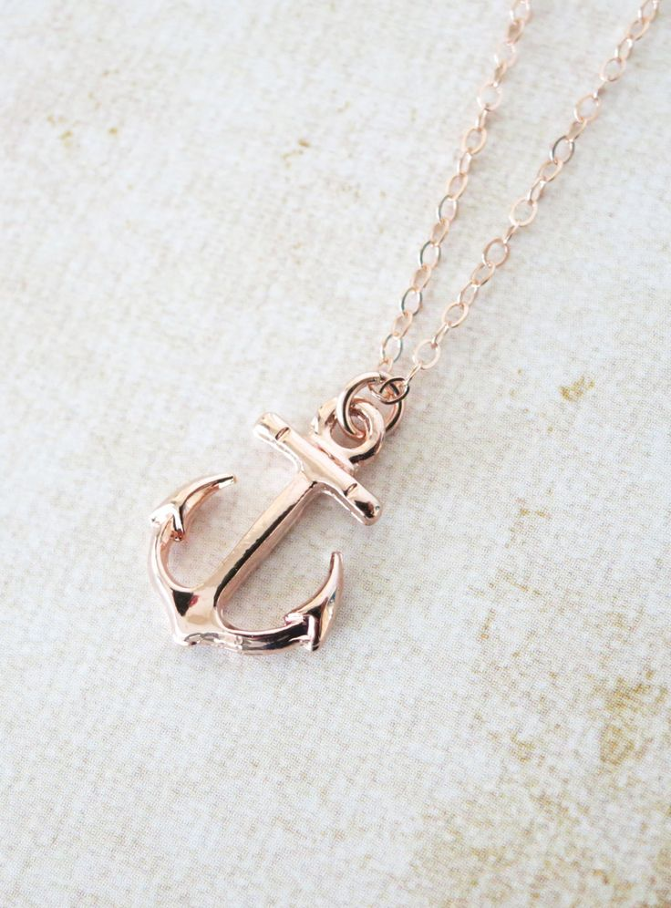 Rose Gold Anchor necklace - simple anchor necklace, nautical beach sea navy…