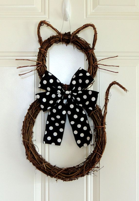 Halloween Cat Wreath Whimsical Halloween by SparkleWithDesigns