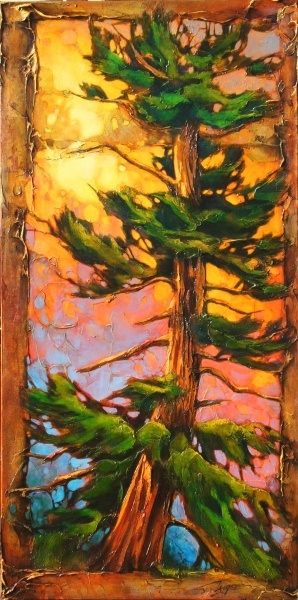 the un-pine and thumb prints 60x30   by David Langevin