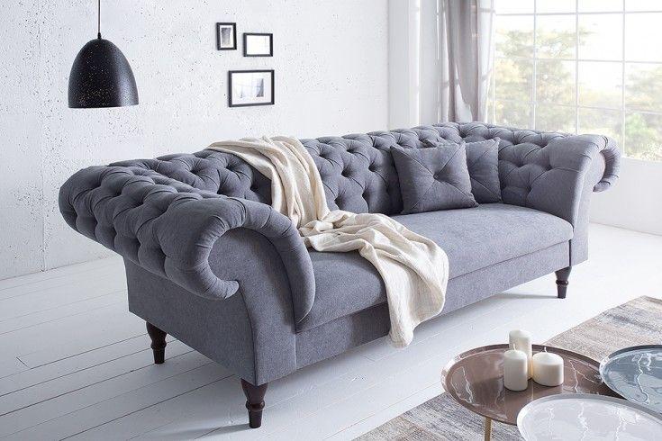 fine chesterfield sofa contessa grau soft baumwolle mit 2 kissen farbe - Couch Grau Stoff