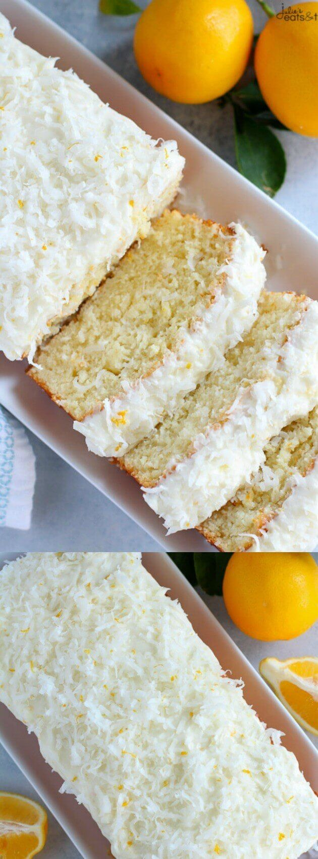 This Lemon Coconut Cake from Julie's Eats and Treats is the perfect springtime brunch treat! Moist, flavorful homemade cake is topped with the tastiest lemon and coconut cream cheese frosting!