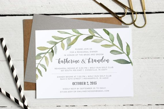 Watercolor Botanical Wreath Rehearsal Dinner Invitations - Formal, Modern Custom Invites - Calligraphy Rehearsal Invitation - Printable File