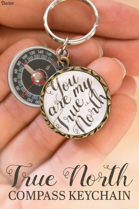 DIY True North Compass Keychain from Live.Craft.Love