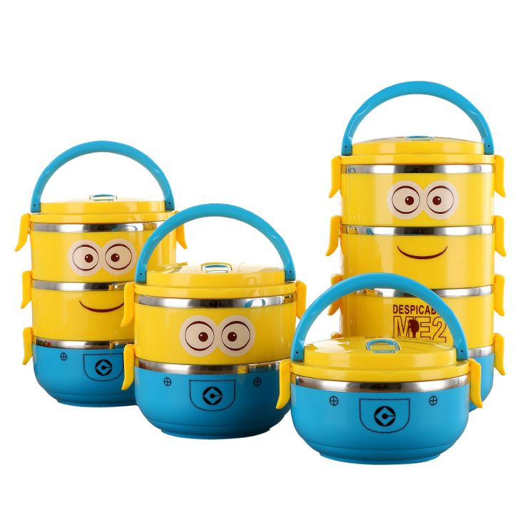 Cute Cartoon Minion stainless steel  Lunch Box For Kids With Plastic Tiffin Boxes Thermal Bento For School Students In Tableware-in Dinnerware Sets from Home & Garden on Aliexpress.com   Alibaba Group