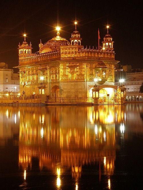 The Golden Temple, Hari Mandir, in Amritsar, India is the most sacred place of the Sikh religion