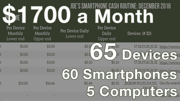 Make $1700 a Month with Smartphones and Computers I have nearly doubled the number of devices from last time. Spreadsheet: http://ift.tt/2i1yLpG More information coming soon! Please feel free to leave any comments below! Learn More Here: http://ift.tt/1Ss9NeJ Facebook: http://ift.tt/1p08CXU Facebook Group: http://ift.tt/1Ss9P69 Twitter: https://twitter.com/TheTechSlugs Email me if you have any questions: joe@thetechslugs.com Mail Me Here: PO Box 525 Greensburg PA 15601 USA