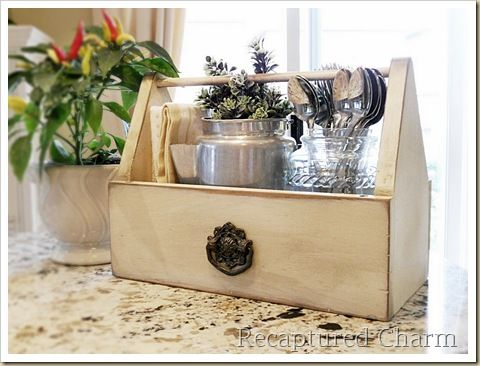 repurposed tool box//i am still kicking myself for putting that toolbox/carrier back and never seeing it again!!!! THE UTENSILS NEED A HOME!